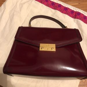 Tory Burch Deep Red Satchel with gold hardware